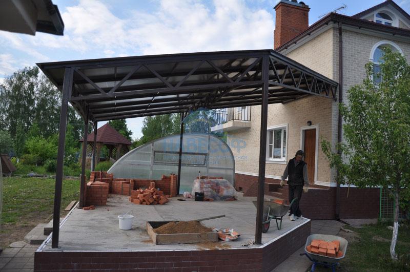 Проект навеса от дома барбекю газовый камин для дома цена